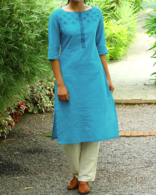 Carolina blue striped cotton kurta
