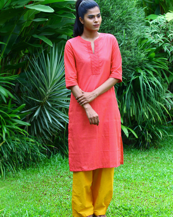 Berry peach striped cotton kurta