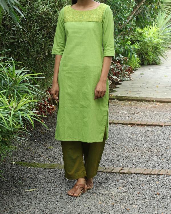 Chartreuse striped cotton kurta