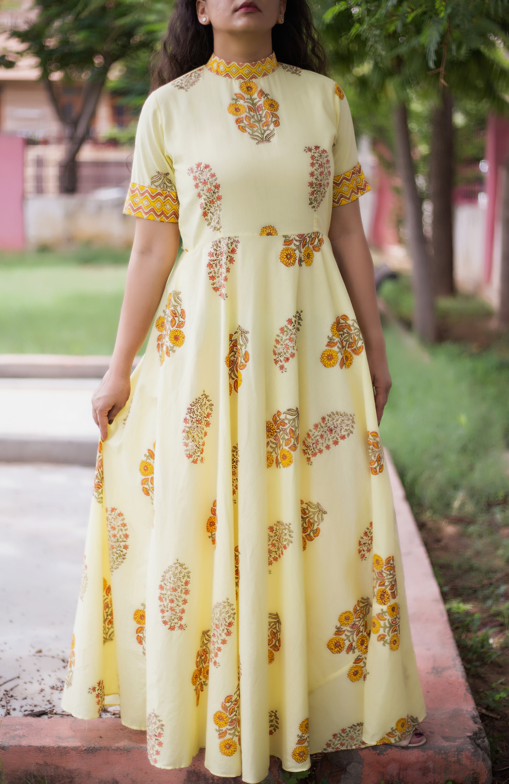 Daffodil mandarin printed maxi