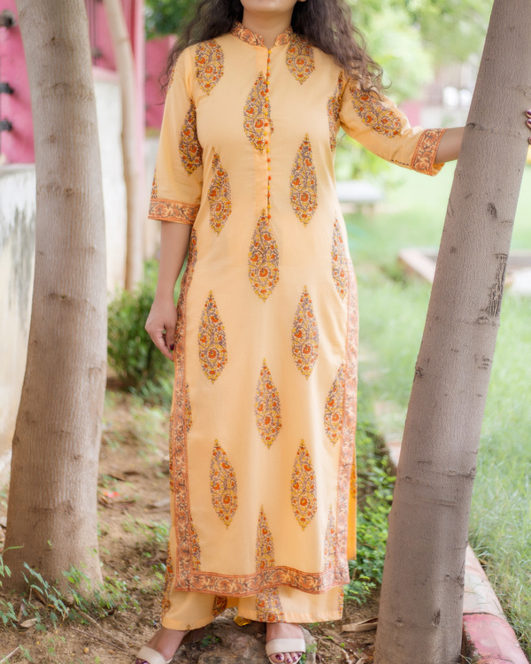 Sherbet orange buttoned tunic with palazzos