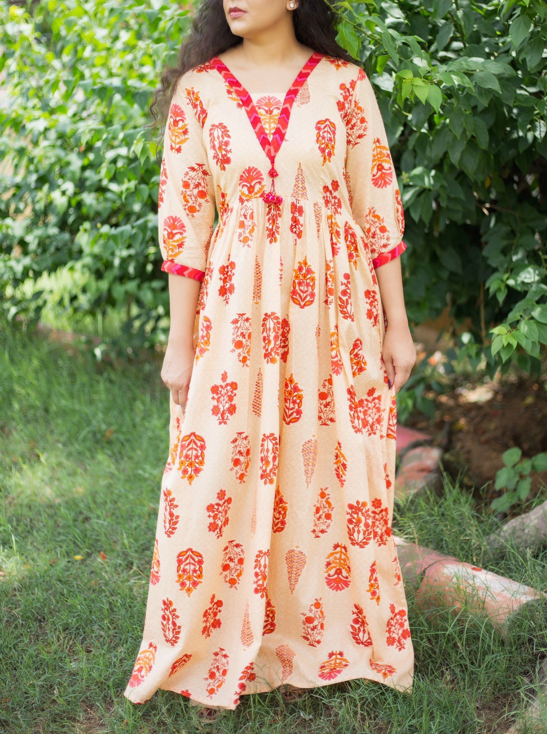 Nude orange printed maxi