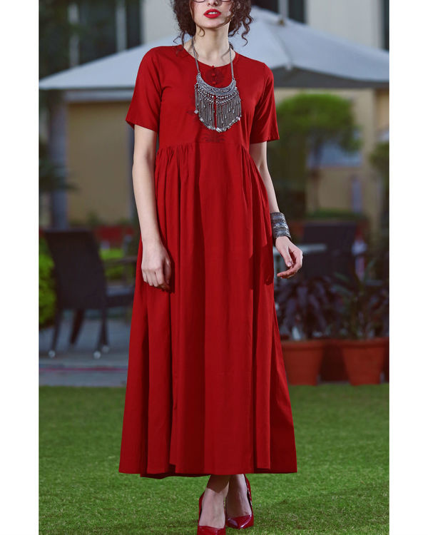 Bold red cotton maxi