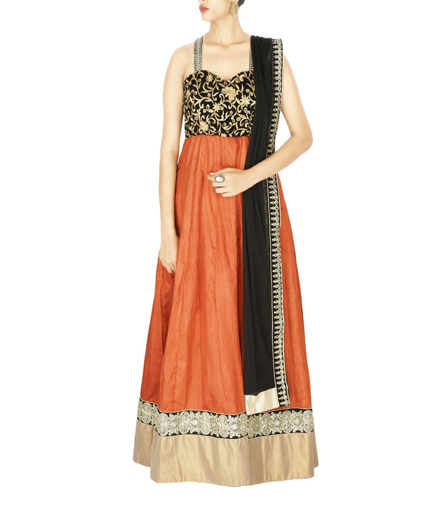 Cross back anarkali with embroidered velvet yoke and silk gheera