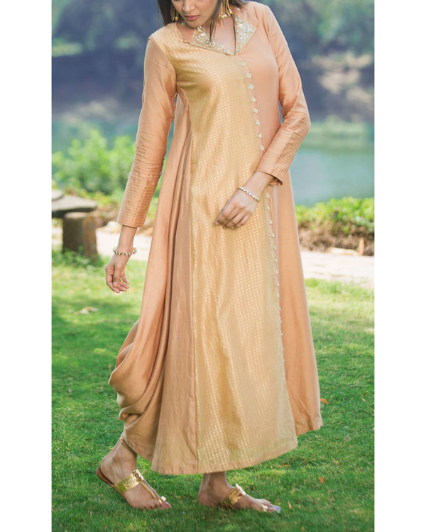 Orange gold back cowl kurta set