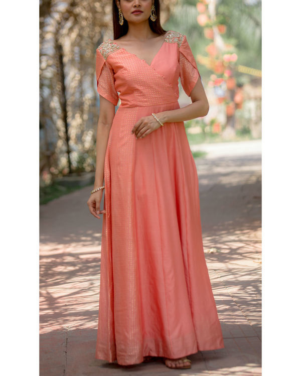 Cremisle peach overlap dress