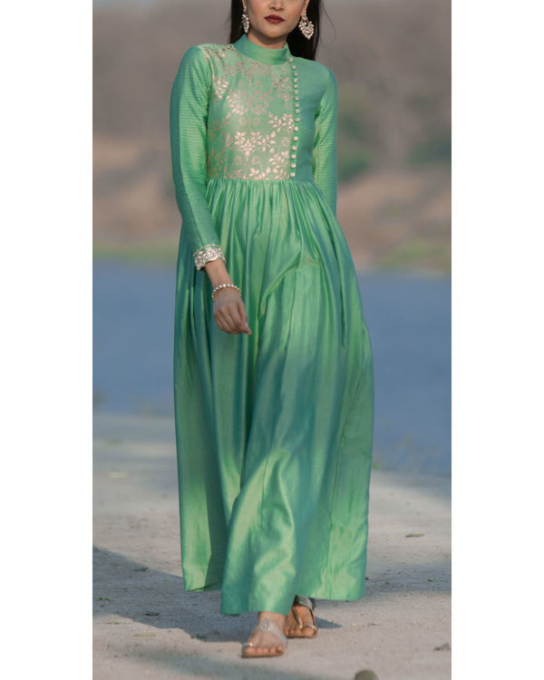 Basil green asymmetrical tunic