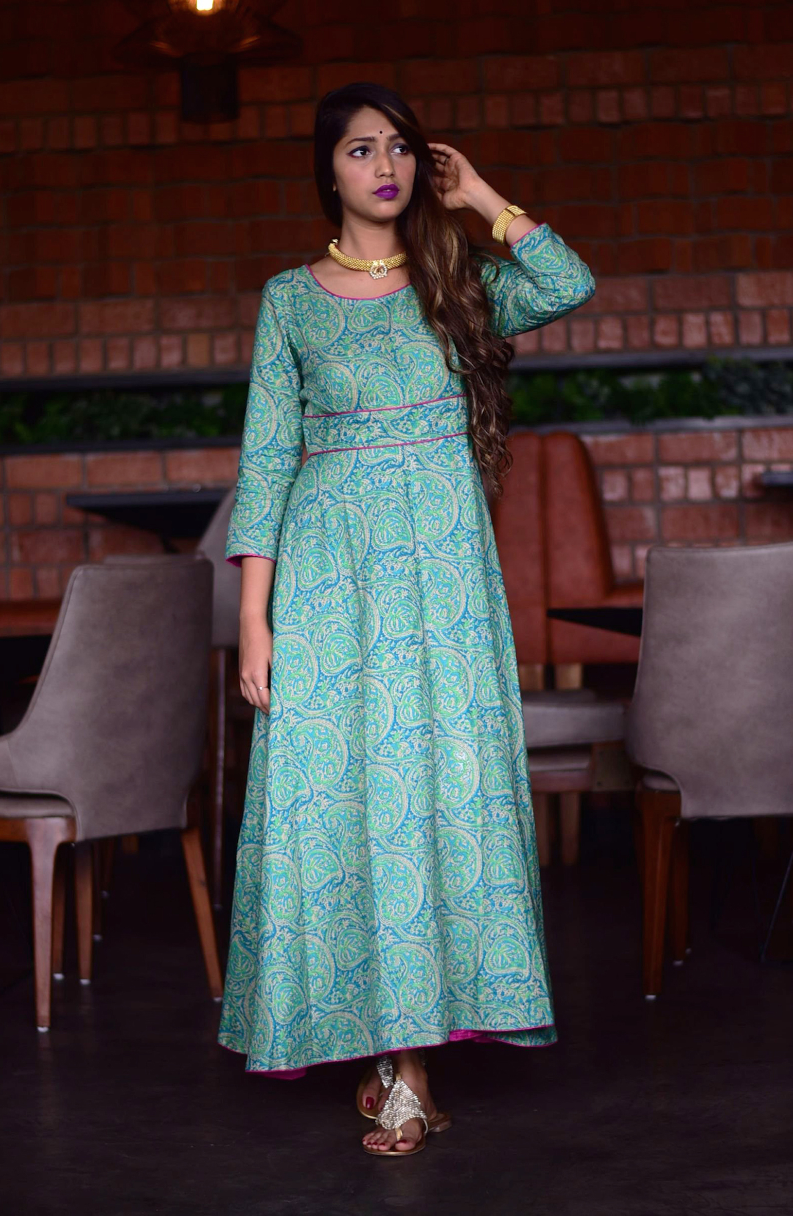 Emerald green paisley tunic