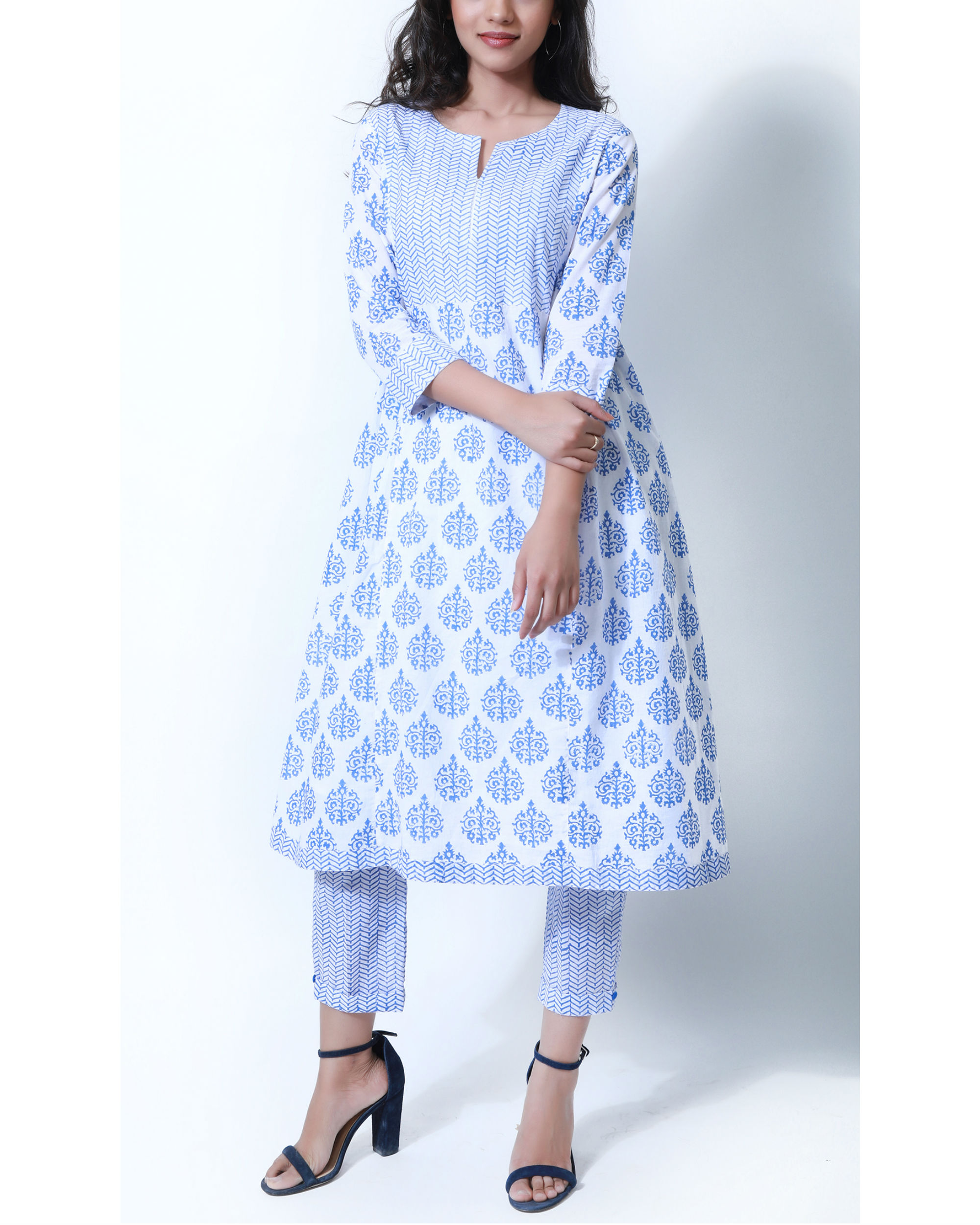 Summer blue and white tunic