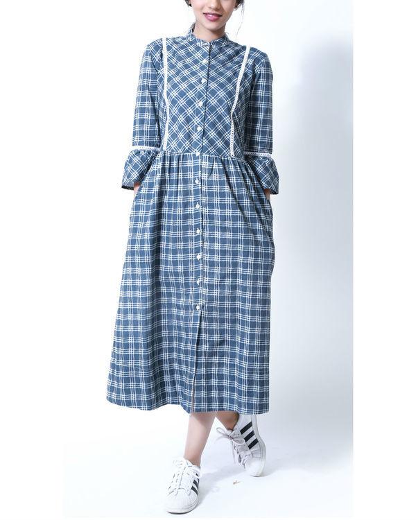 Sapphire blue checks shirt dress