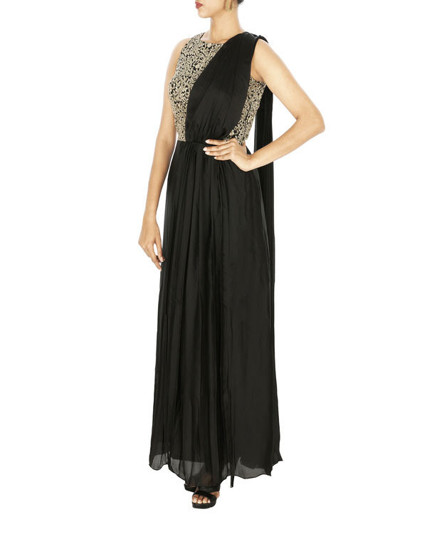 Saree gown in silk chiffon with embroidered yoke