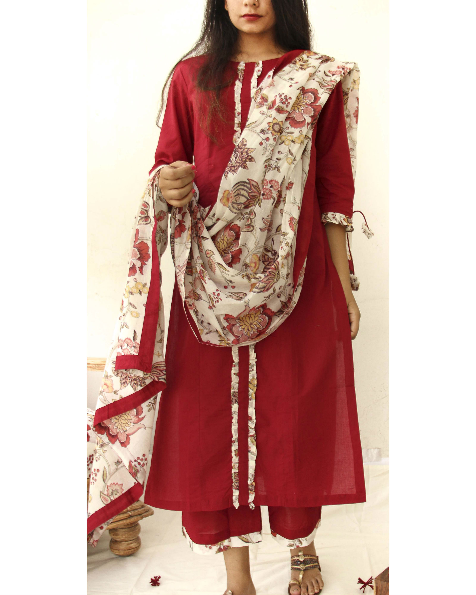 Ruby red kurta with culottes and dupatta