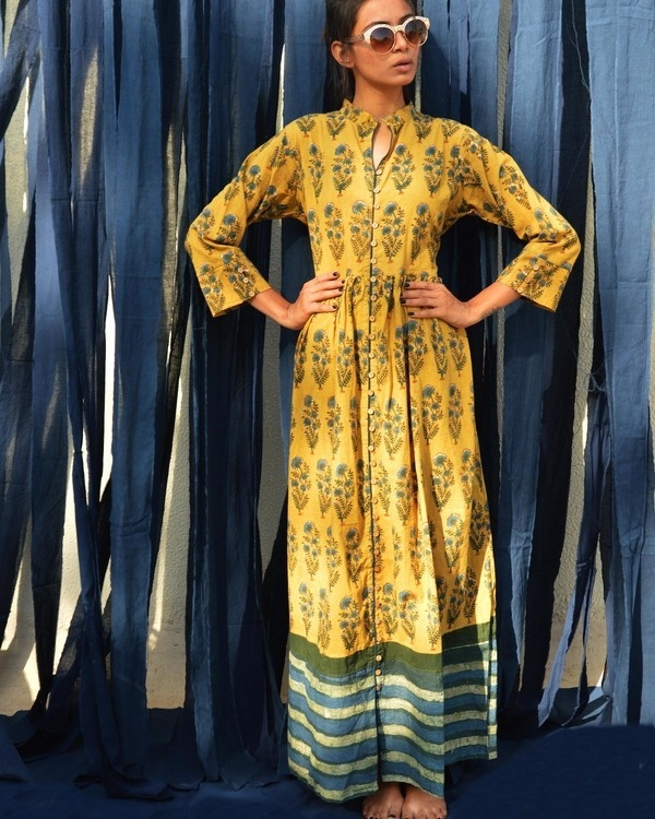 Mustard sapphire green floral printed tunic