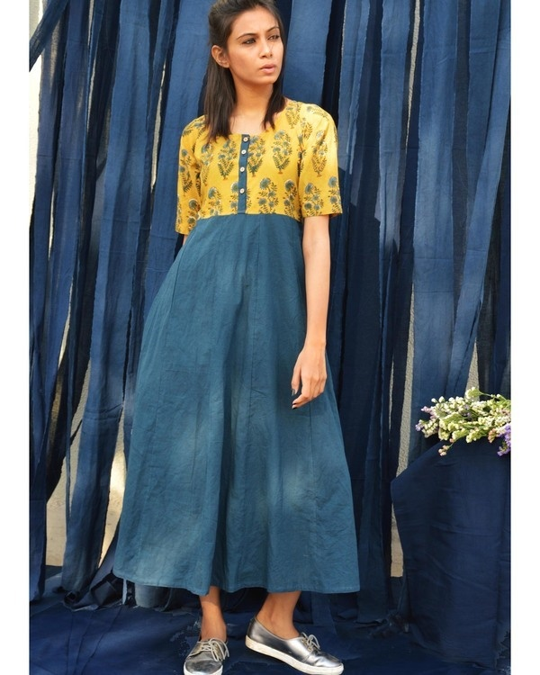 Mustard and indigo yoke tunic