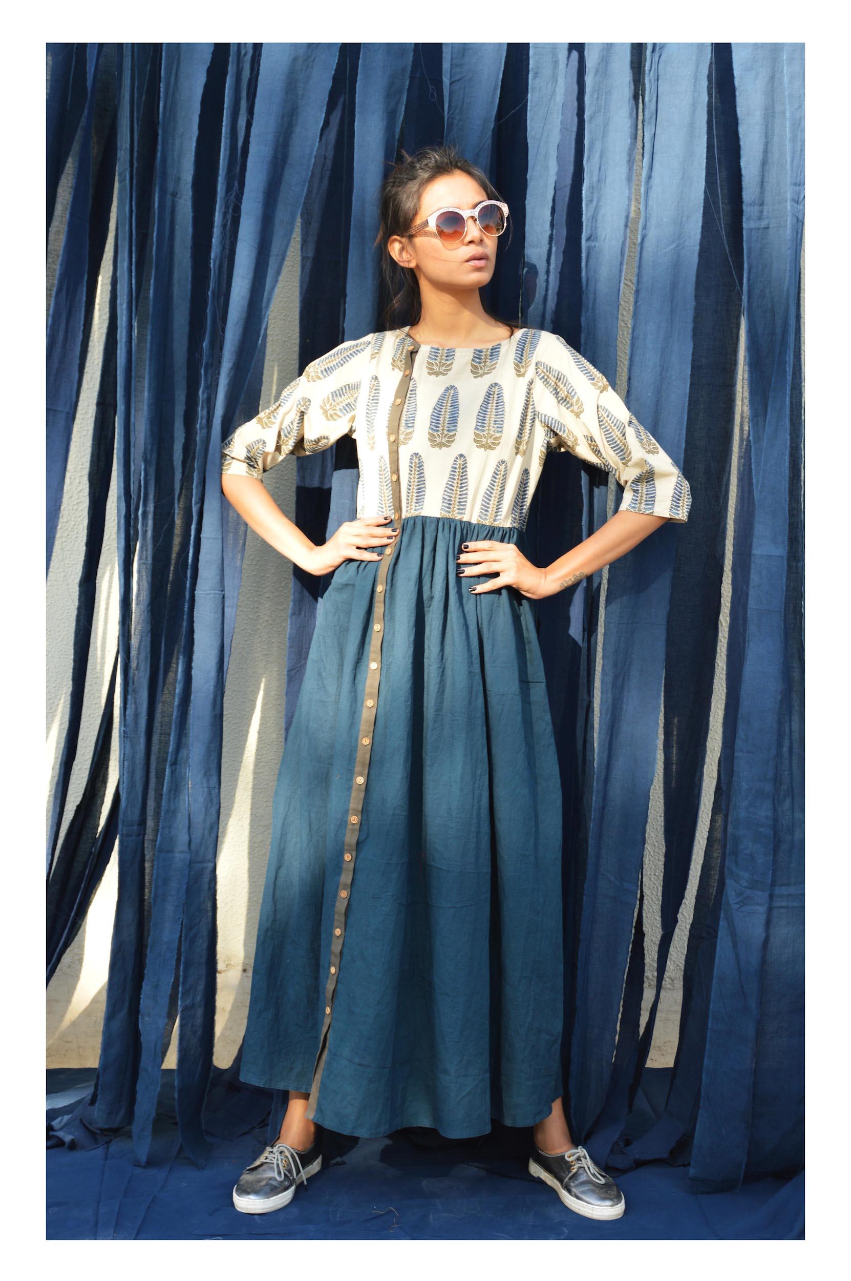 Ivory indigo ajrakh tunic