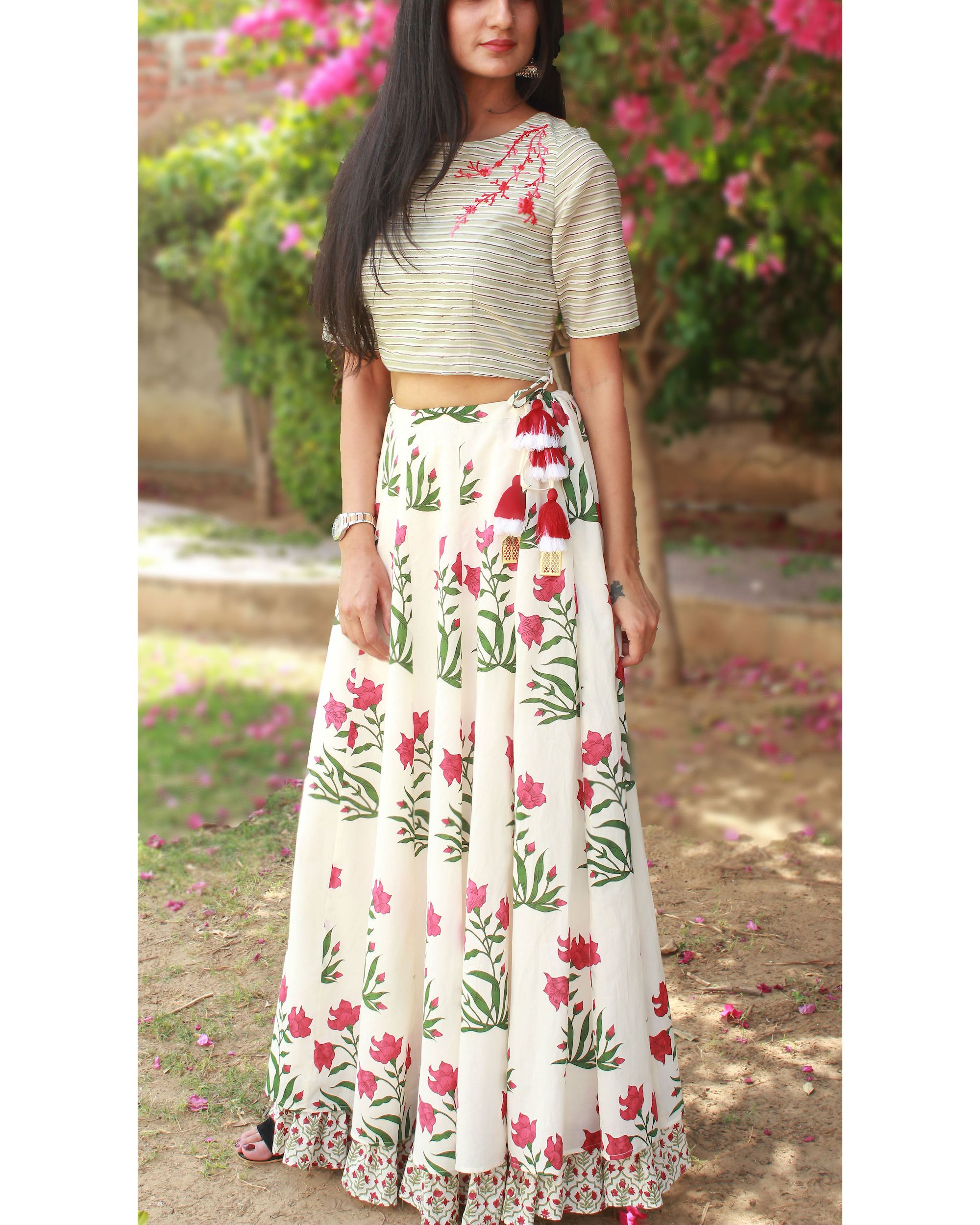 Winter red bloom lehenga set