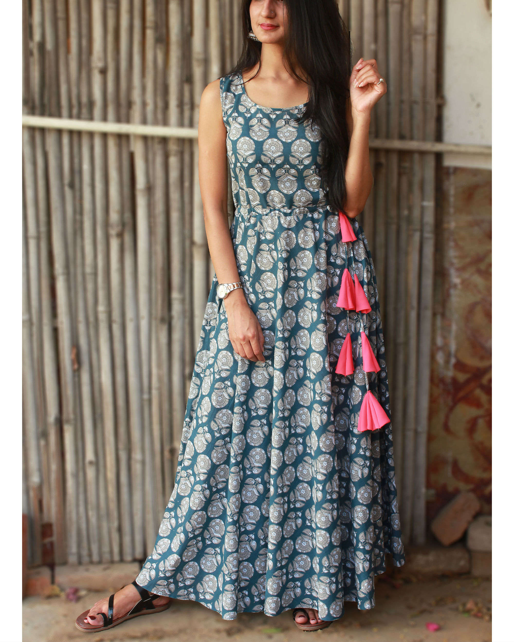 Oxford blue pink tasseled maxi