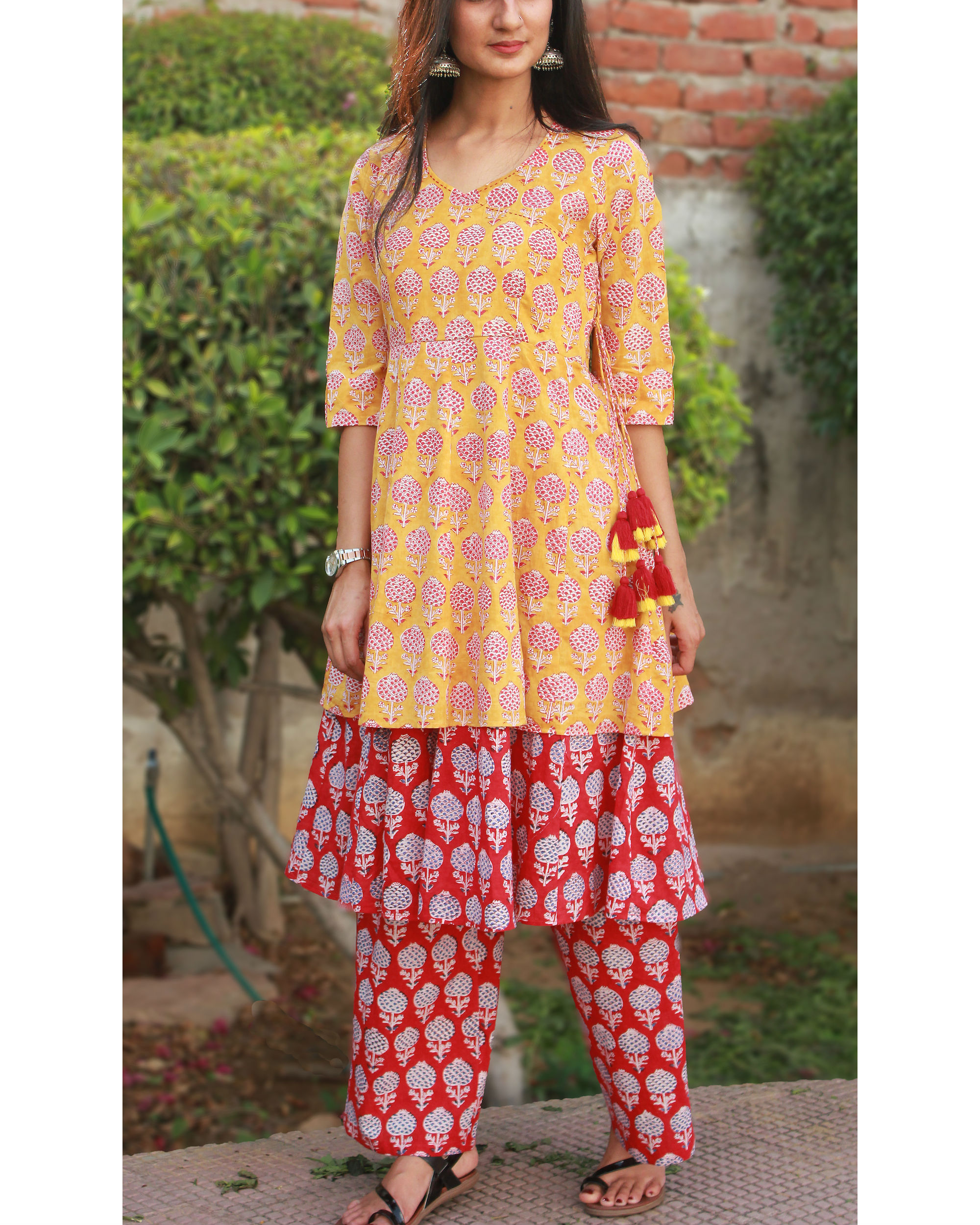 Sherbet orange double layered kurta with pants