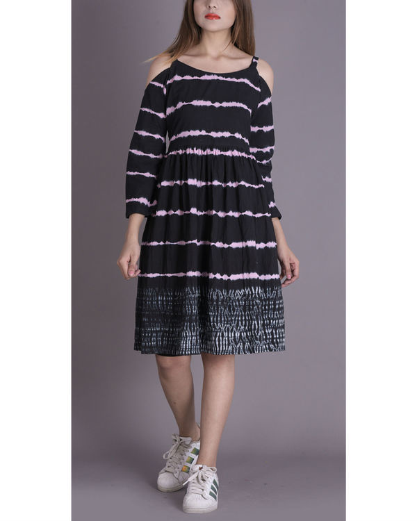 Onyx shibori cold shoulder dress