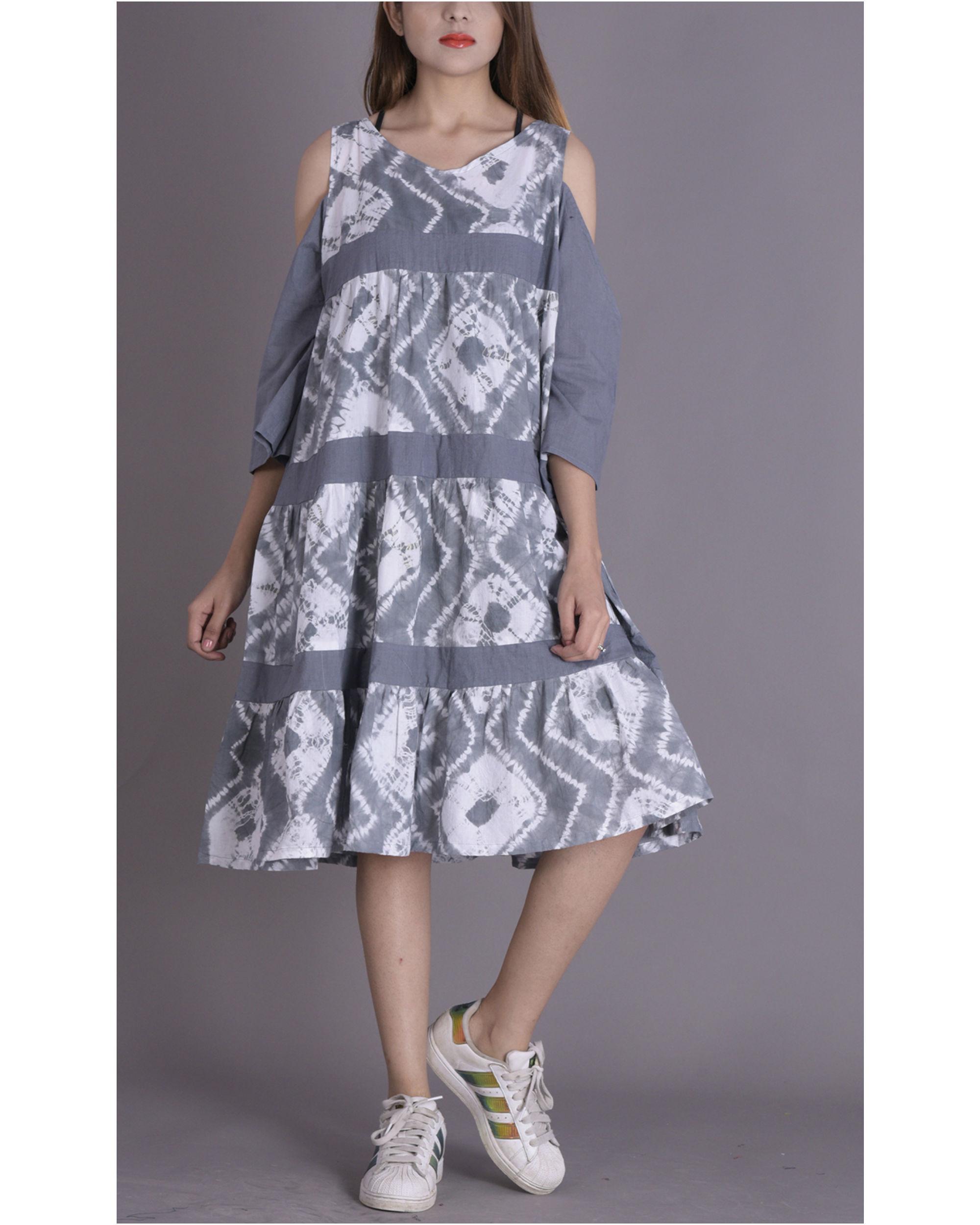 Soft grey tier dress