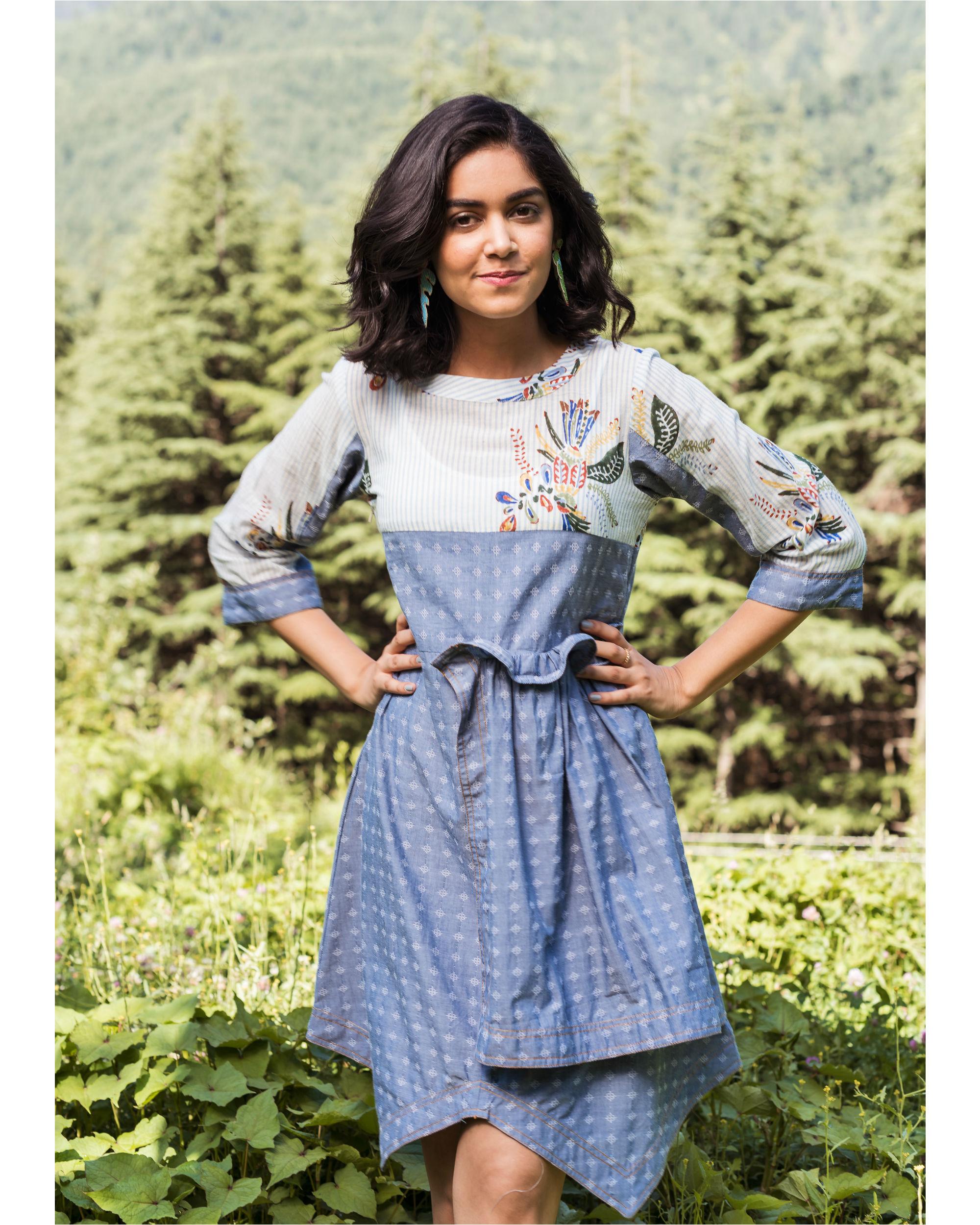 Rainforest heather blue mini dress