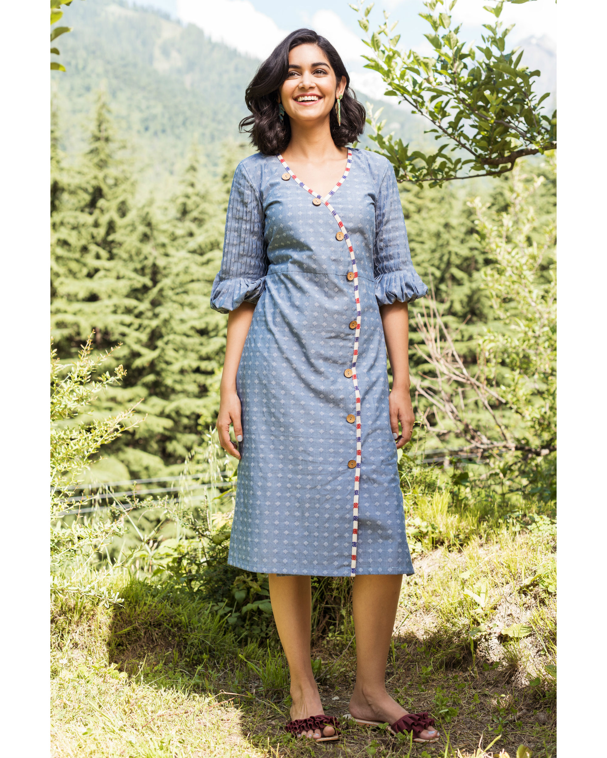 Rainforest heather blue pencil dress