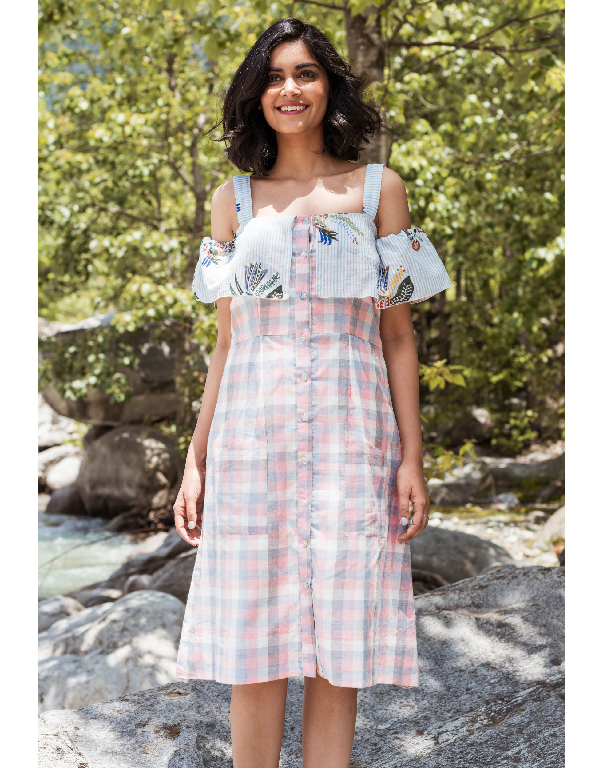 Rainforest peach checkered cold shoulder dress