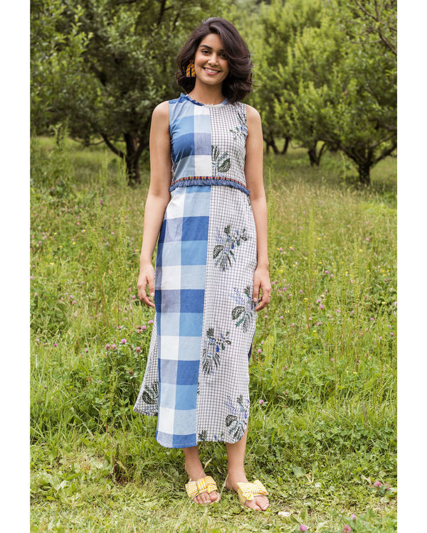 Blue checkered rainforest maxi