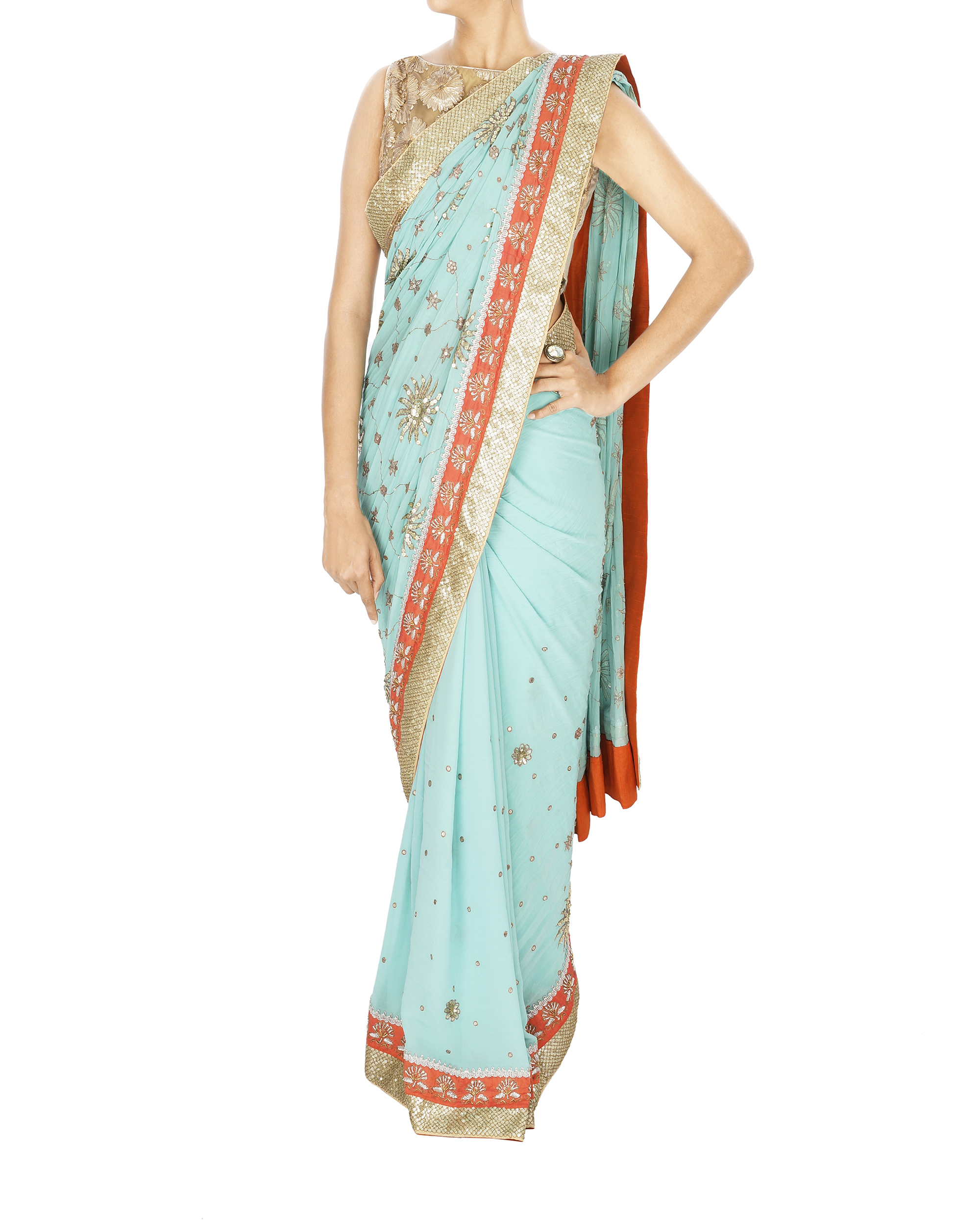 Light blue zardosi work sari with golden blouse
