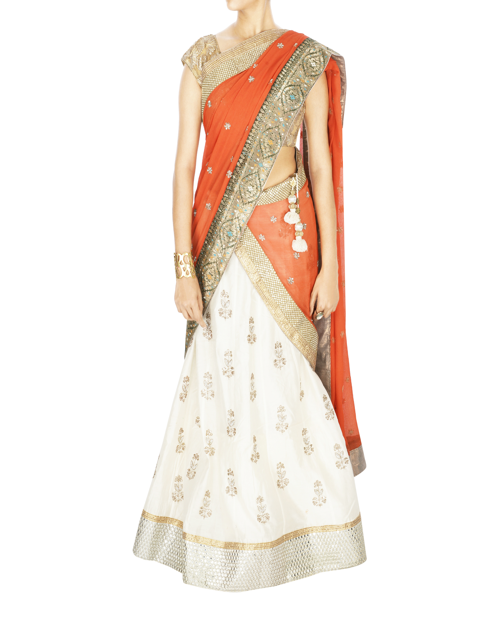 Offwhite lehanga with orange dupatta and golden blouse