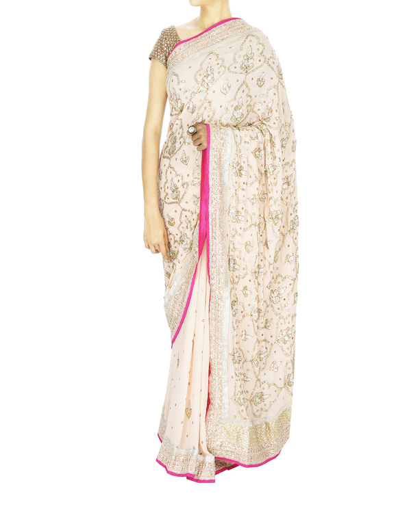 Snow white pink georgette sari with blouse
