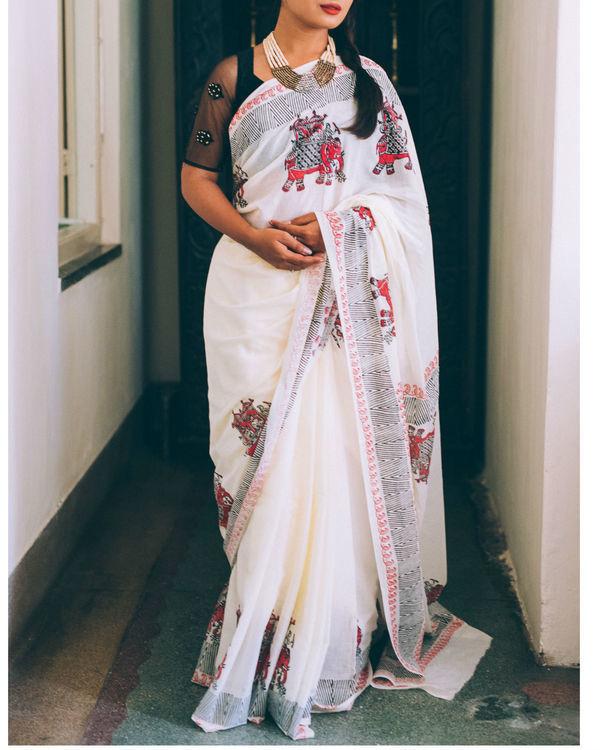 Ivory ganesha multi print sari