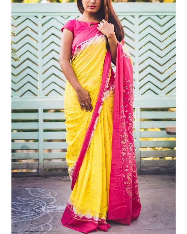 Fuscsia canary kalki print sari
