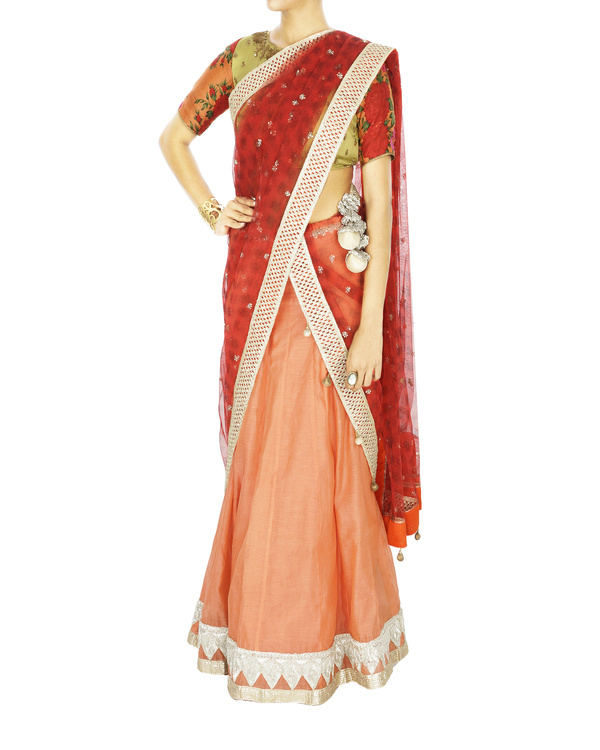 Peach chanderi base lehenga with net dupatta and floral blouse