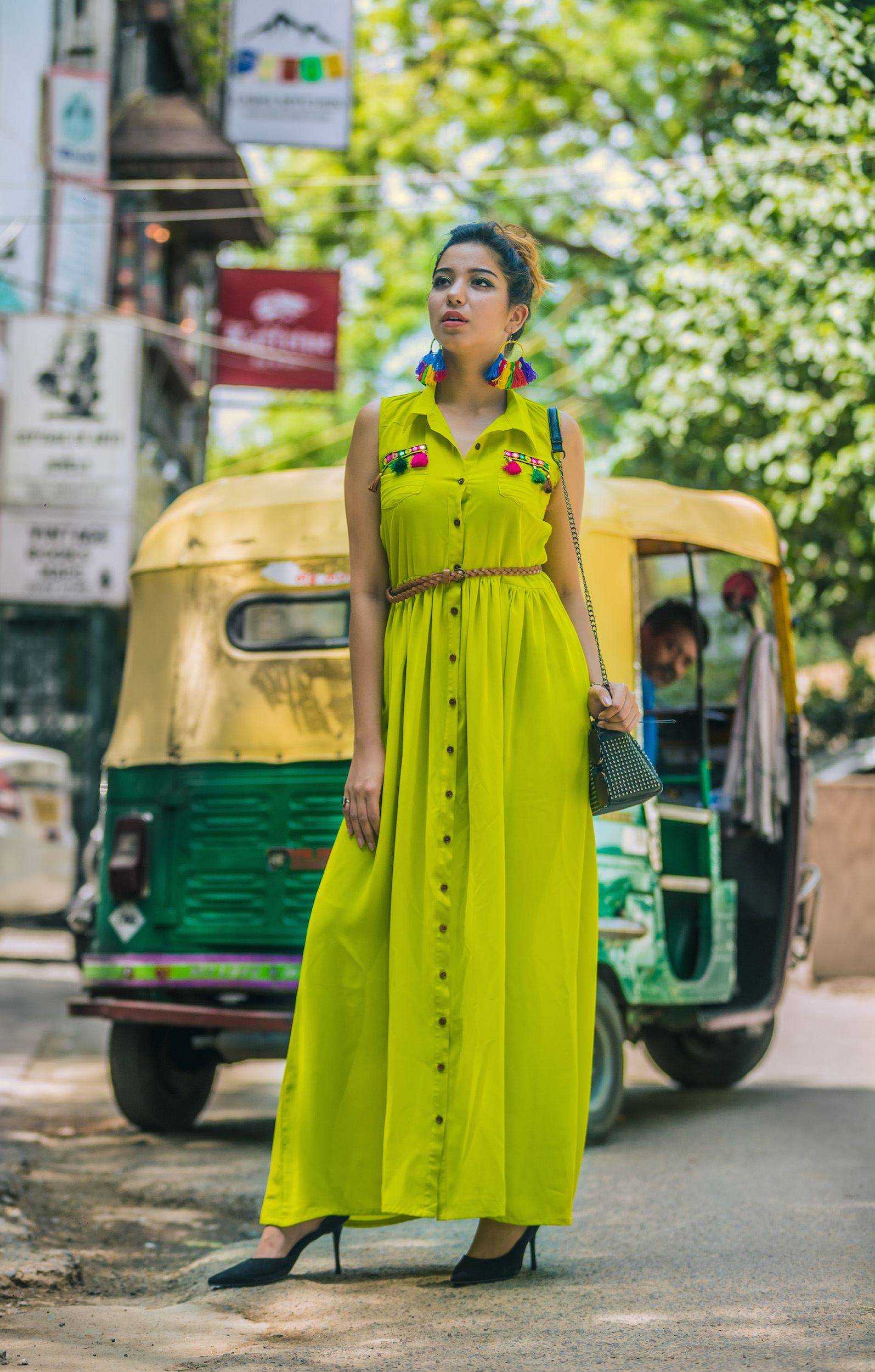Chartreuse green tasseled maxi