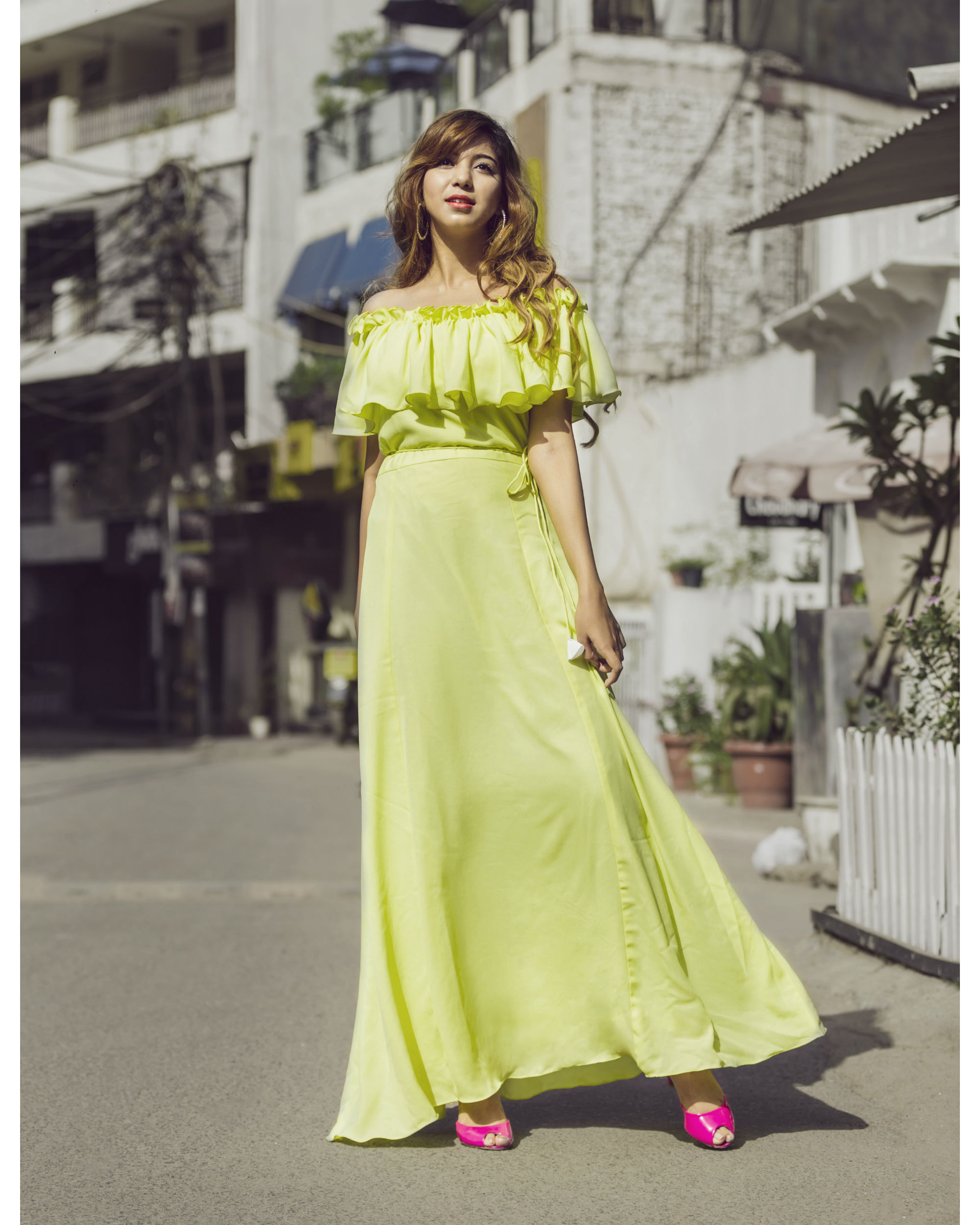 Lime Yellow ruffled maxi