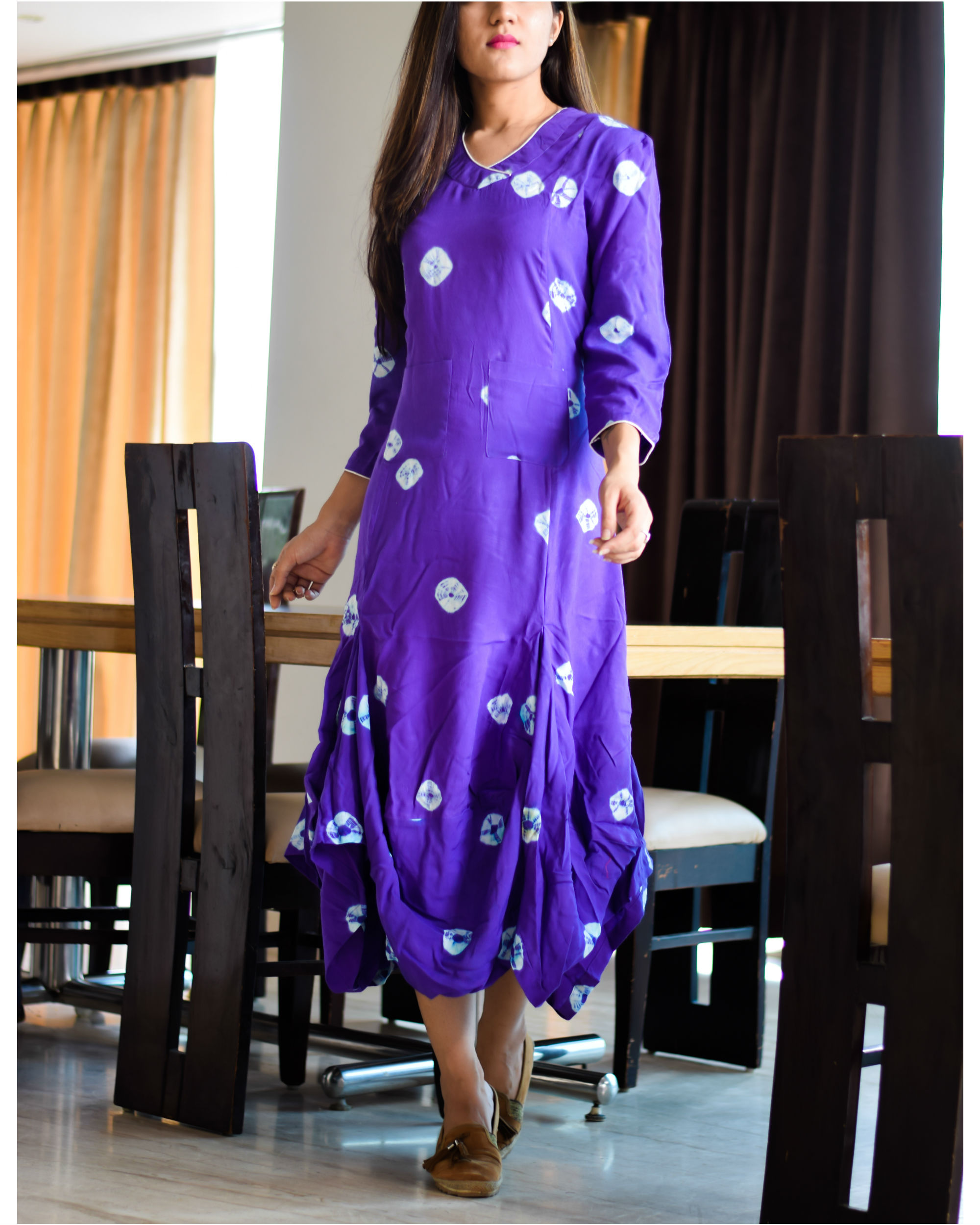 Rayon purple tie and dye dress
