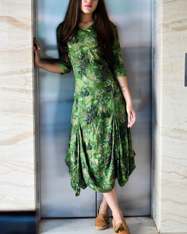 Forest green balloon dress