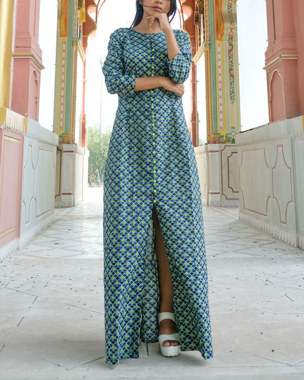 Printed long front button dress