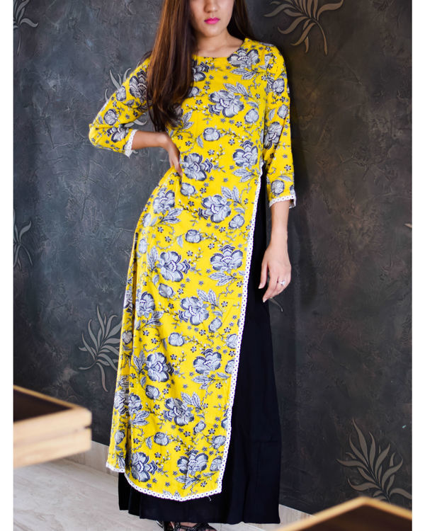 Yellow crayon floral maxi with inner