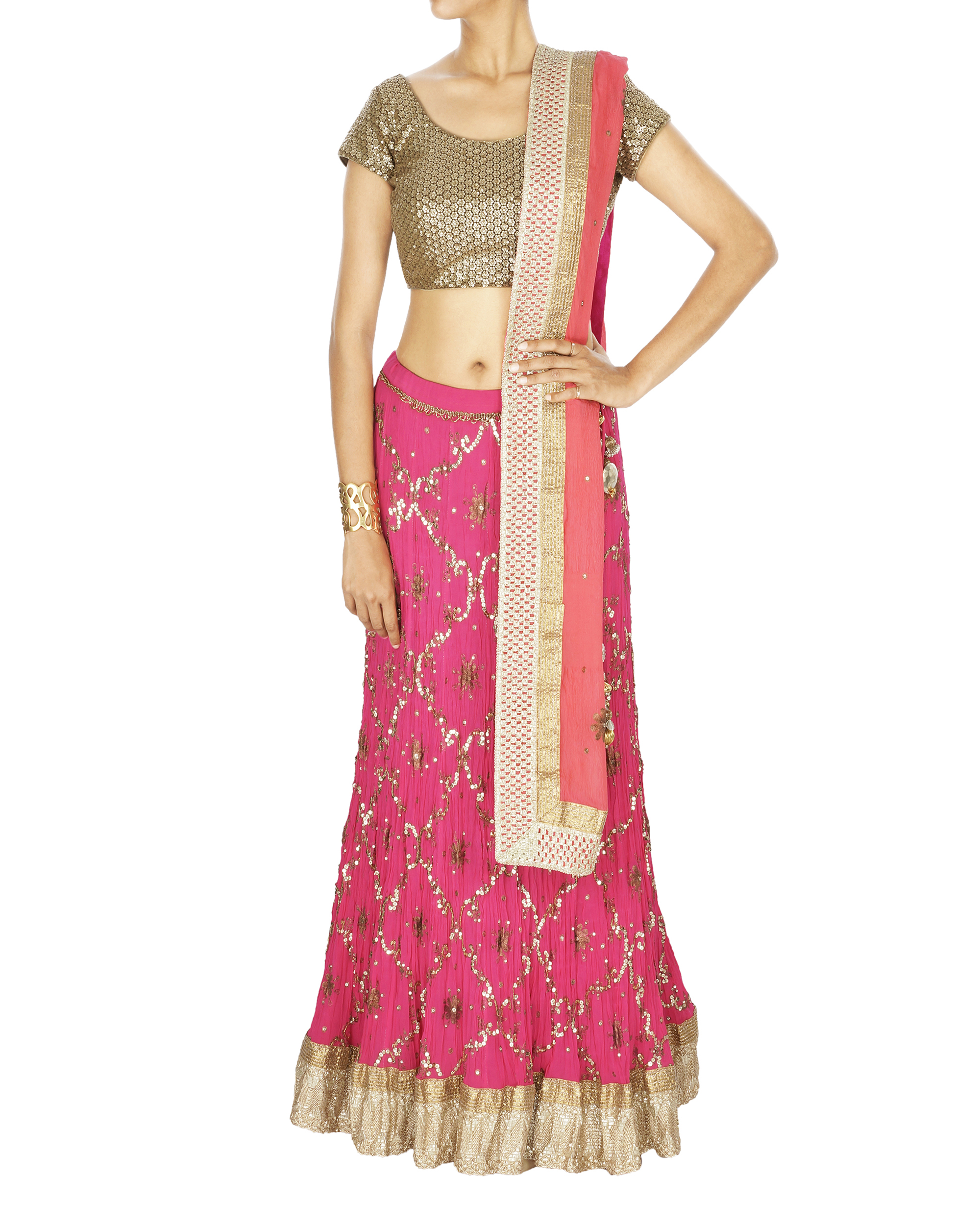 Fuscia pink georgette lehenga with chiffon dupatta and sequence blouse