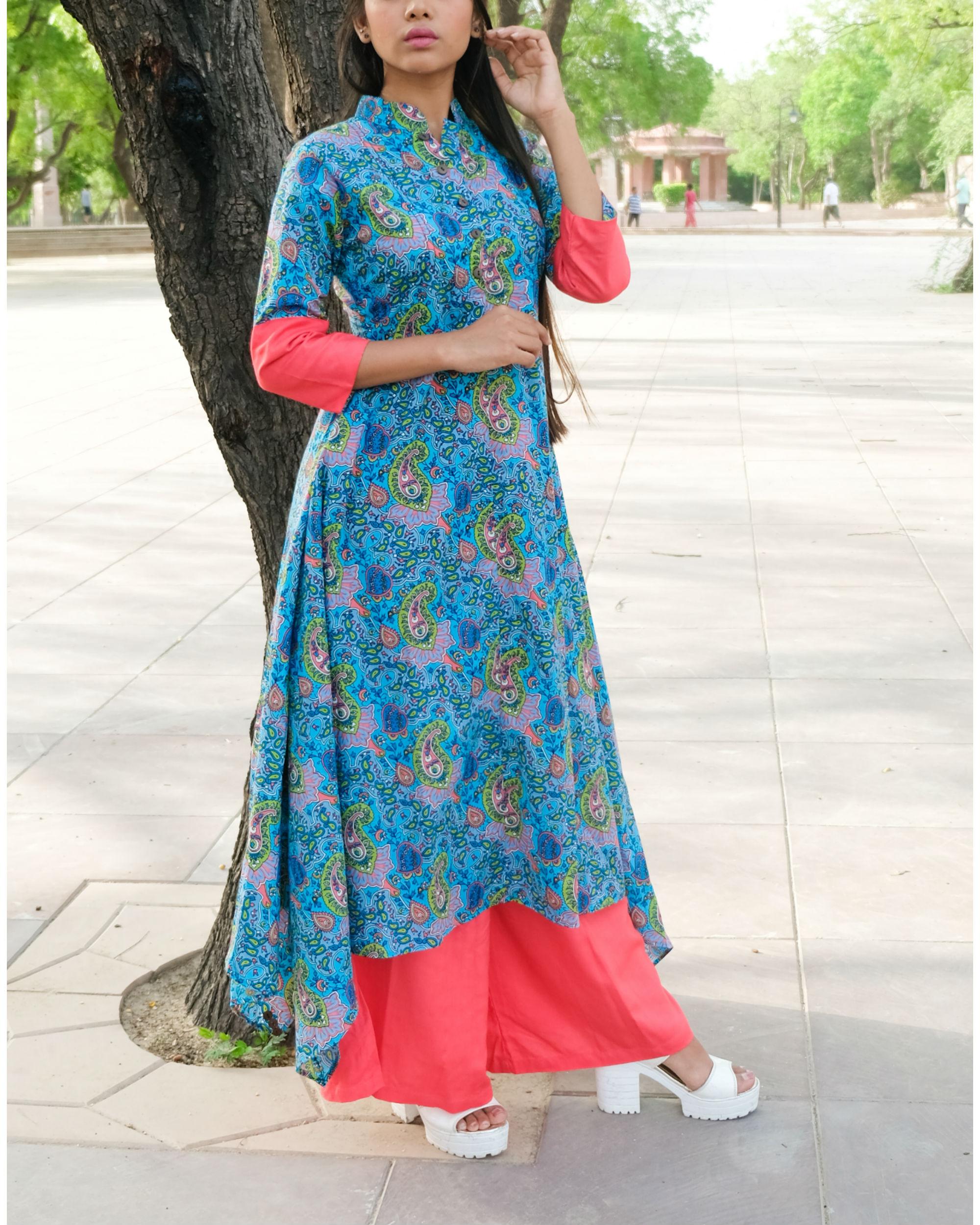 Cyan blush kurta and palazzos set
