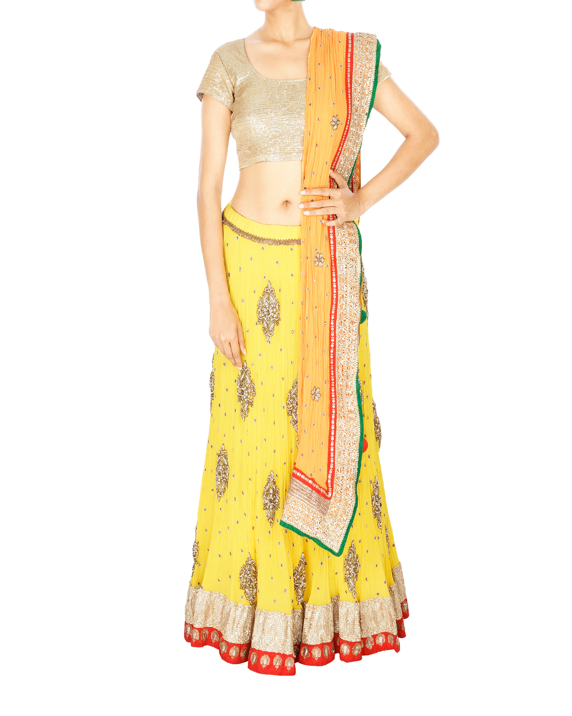 Yellow georgette lehenga with orange georgette dupatta and sequence blouse