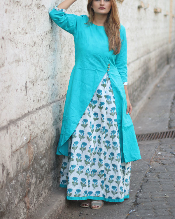Teal and floral layered maxi dress