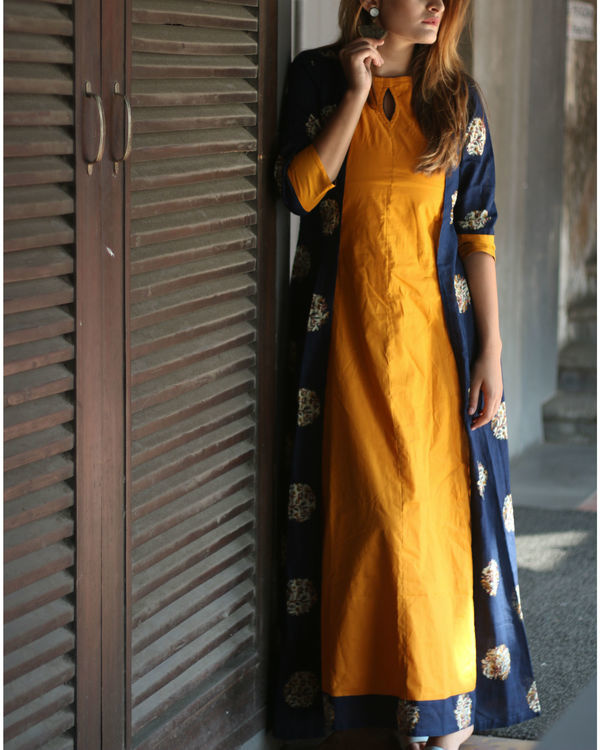 Mustard and navy cape dress