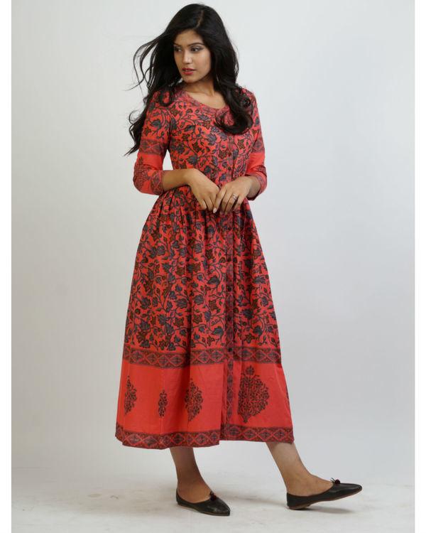 Cherry blueprinted tunic