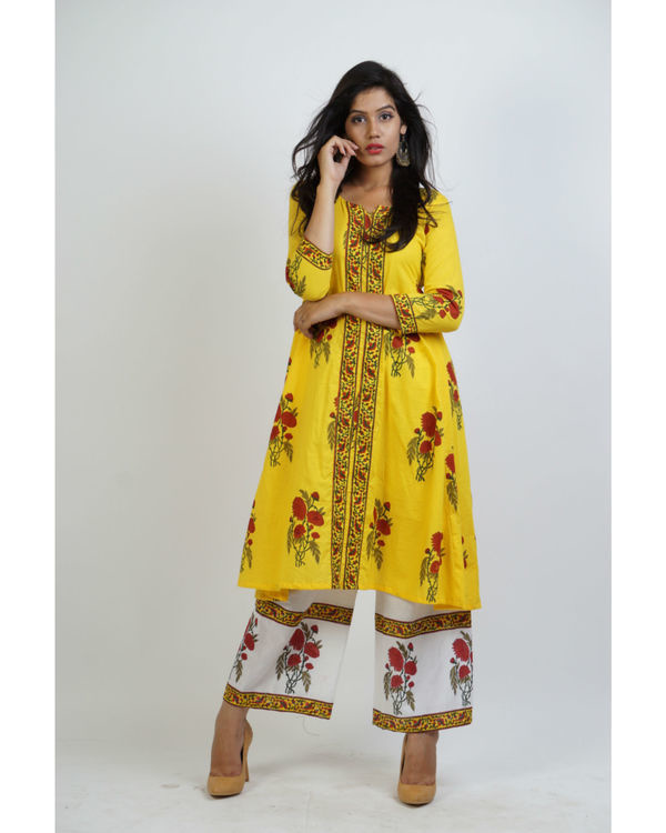 Yellow block printed tunic with panelled palazzo pants