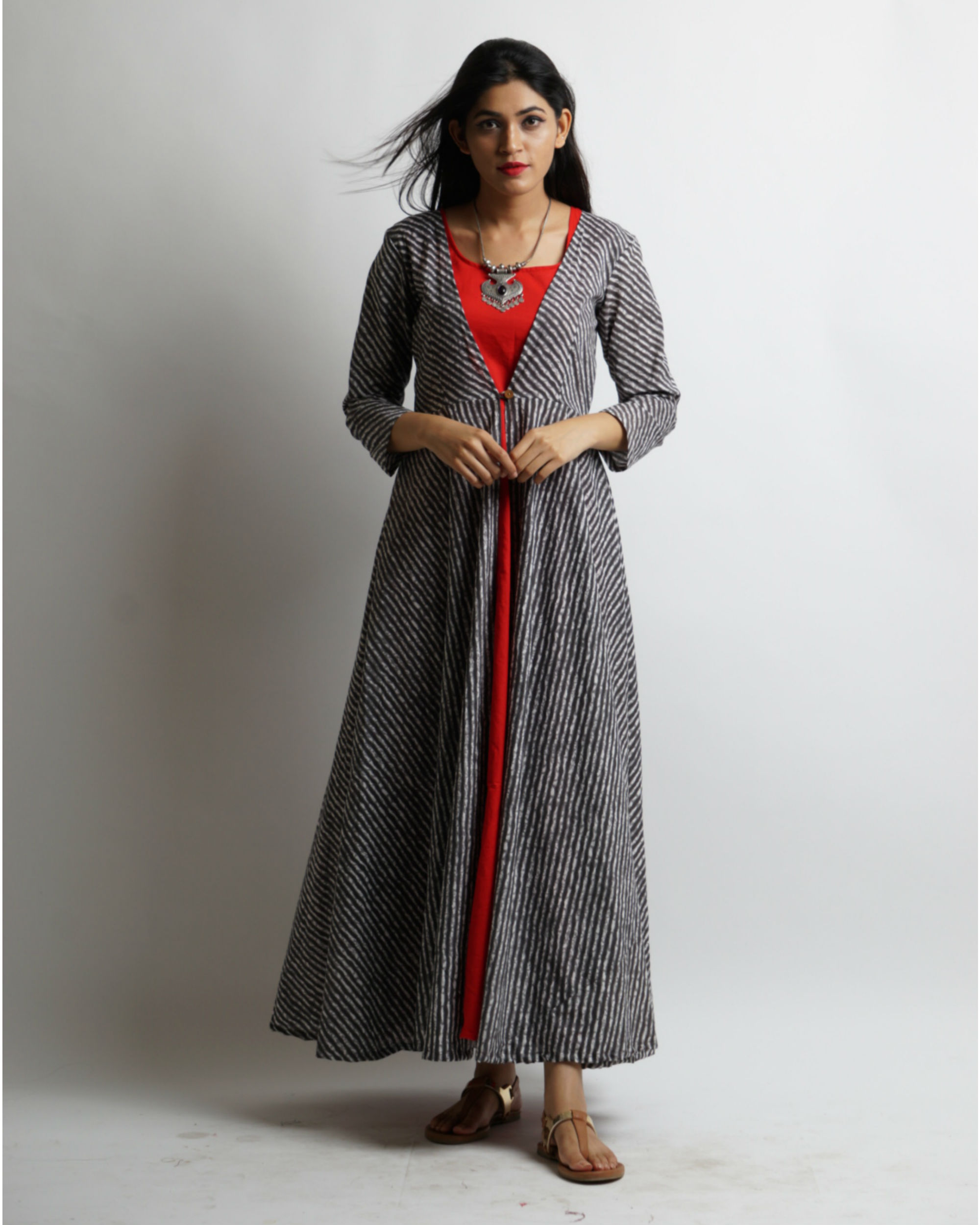 Grey flared leheria jacket with red maxi