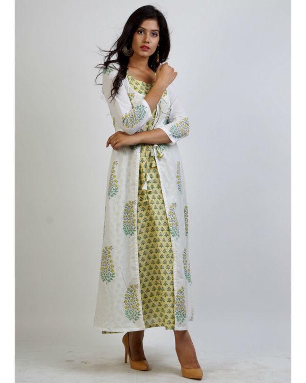 Yellow block print maxi with mughal motif jacket