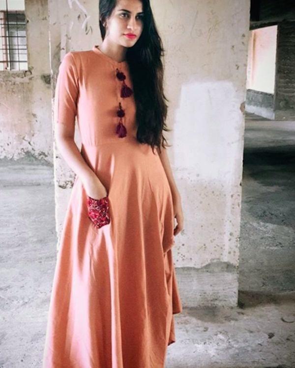 Peach needle dress